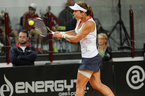 10.02.2013. Rimini, Italy.  Varvara LEPCHENKO (USA) in action during the Fed Cup in her match against Sara Errani (Ita)  during the Fed Cup match between Italy and the USA in Rimini, Italy .
