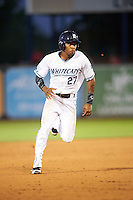 West Michigan Whitecaps right fielder Jose Azocar (27) running the bases during a game against the Burlington Bees on July 25, 2016 at Fifth Third Ballpark in Grand Rapids, Michigan.  West Michigan defeated Burlington 4-3.  (Mike Janes/Four Seam Images)