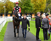 Vixen ridden by Edward Greatrex and trained by Eve Johnson Houghton is led into the winners enclosure after winning The Bathwick Tyres Handicap (Div 1) during Bathwick Tyres Reduced Admission Race Day at Salisbury Racecourse on 9th October 2017