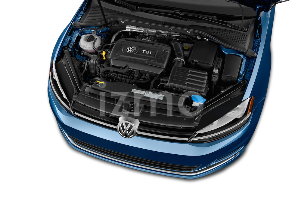 Car Stock 2015 Volkswagen Golf SEL 4-door TSI  Auto PZEV 4 Door Hatchback Engine high angle detail view