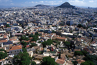 aerial, Athens, Greece, Plaka, Europe, Aerial view of the Plaka and the city of Athens and Lykavittos Hill, highest point, from the Acropolis.