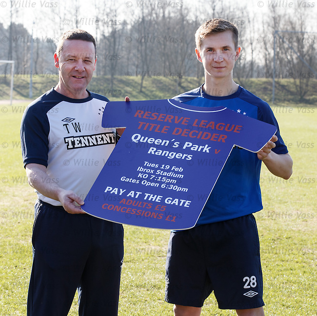Rangers reserve coach Tommy Wilson with Robbie Crawford promoting the SFL reserve match at Ibrox tomorrow evening