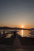 Varese. Lombardia. ITALY. General View.  Sun Set, Crews returning from afternoon Training on Lake/Lago Varese [Varese Rowing Club]. [Canottieri Varese]<br /> <br /> Tuesday  03/01/2017 <br /> <br /> [Mandatory Credit; Peter Spurrier/Intersport-images]<br /> <br /> <br /> LEICA CAMERA AG - LEICA Q (Typ 116) - 1/500 - f4