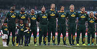The South African players sings the National Anthem during the 2018 Castle Lager Incoming Series 2nd Test match between South Africa and England at the Toyota Stadium.Bloemfontein,South Africa. 16,06,2018 Photo by Steve Haag / stevehaagsports.com