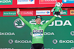 Sam Bennett (IRL) Bora-Hansgrohe retains the points Green Jersey at the end of Stage 5 of La Vuelta 2019 running 170.7km from L'Eliana to Observatorio Astrofisico de Javalambre, Spain. 28th August 2019.<br /> Picture: Luis Angel Gomez/Photogomezsport | Cyclefile<br /> <br /> All photos usage must carry mandatory copyright credit (© Cyclefile | Luis Angel Gomez/Photogomezsport)