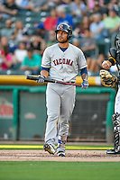 Stefen Romero (17) of the Tacoma Rainiers at bat against the Salt Lake Bees in Pacific Coast League action at Smith's Ballpark on July 23, 2016 in Salt Lake City, Utah. The Rainiers defeated the Bees 4-1. (Stephen Smith/Four Seam Images)