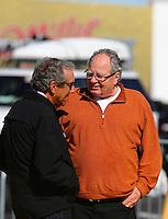 Feb 3, 2016; Chandler, AZ, USA; NHRA team owner Connie Kalitta (right) and Don Schumacher during pre season testing at Wild Horse Pass Motorsports Park. Mandatory Credit: Mark J. Rebilas-USA TODAY Sports