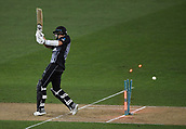 8th February 2019, Eden Park, Auckland, New Zealand;  Tim Southee is bowled. New Zealand v India in the Twenty20 International cricket, 2nd T20.