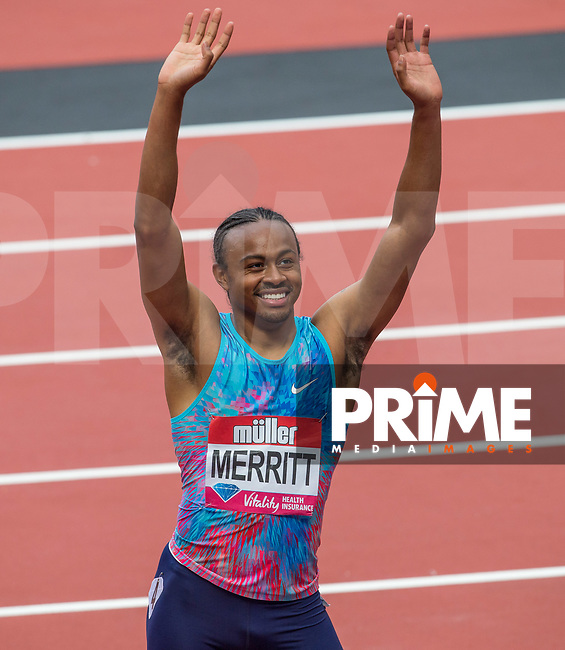 Aries MERRITT of USA smiles after his 110m Hurdles win (13.09) during the IAAF Diamond League Muller London Anniversary Games 2017 at the Queen Elizabeth Park, Olympic Park, London, England on 9 July 2017.  Photo by Andy Rowland.