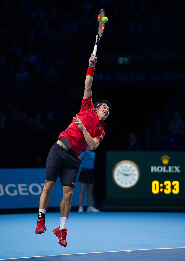 Kei Nishikori of Japan in action during his defeat to Andy Murray of Great Britain in their Group John McEnroe match today - Andy Murray def Kei Nishikori 6-7 (9-11) 6-4 6-4<br /> <br /> Photographer Ashley Western/CameraSport<br /> <br /> International Tennis - Barclays ATP World Tour Finals - Day 4 - Wednesday 16th November 2016 - O2 Arena - London<br /> <br /> World Copyright &copy; 2016 CameraSport. All rights reserved. 43 Linden Ave. Countesthorpe. Leicester. England. LE8 5PG - Tel: +44 (0) 116 277 4147 - admin@camerasport.com - www.camerasport.com