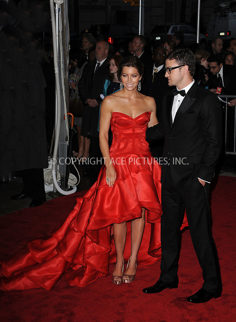 WWW.ACEPIXS.COM . . . . . ....May 4 2009, New York City....Jessica Biel and Justin Timberlake arriving at 'The Model as Muse: Embodying Fashion' Costume Institute Gala at The Metropolitan Museum of Art on May 4, 2009 in New York City.....Please byline: KRISTIN CALLAHAN - ACEPIXS.COM.. . . . . . ..Ace Pictures, Inc:  ..tel: (212) 243 8787 or (646) 769 0430..e-mail: info@acepixs.com..web: http://www.acepixs.com