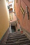 Stairs up the alleyway in Vernazza Italy