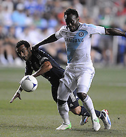 Chelsea FC forward Romelu Lukaku (18) goes against MLS All-Stars midfielder Dwayne De Rosario (7) The MLS All Stars Team defeated Chelsea FC 3-2 at PPL Park Stadium, Wednesday 25, 2012.