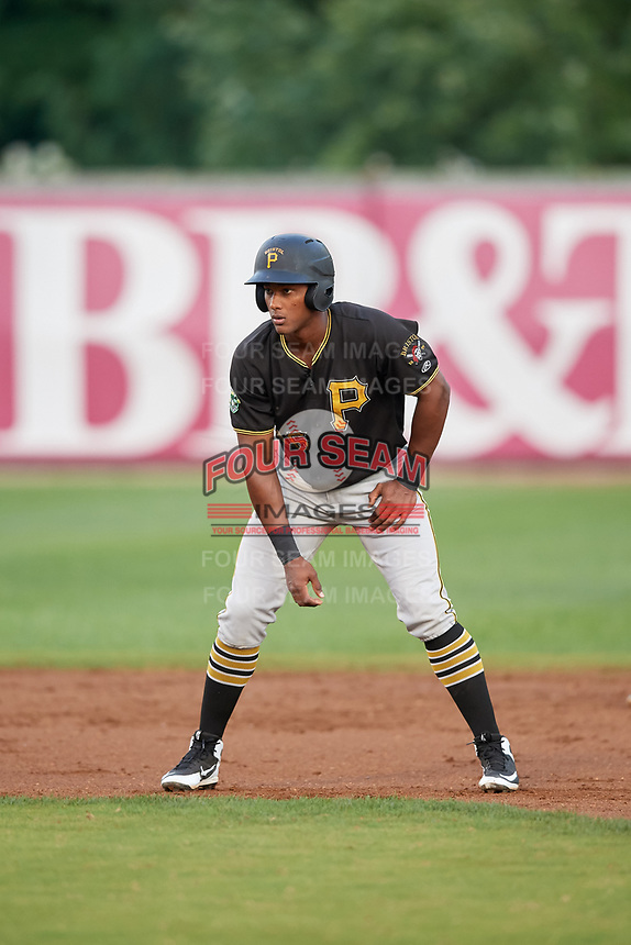 Bristol Pirates designated hitter Jeremias Portorreal (16) leads off second base during the second game of a doubleheader against the Bluefield Blue Jays on July 25, 2018 at Bowen Field in Bluefield, Virginia.  Bristol defeated Bluefield 5-2.  (Mike Janes/Four Seam Images)