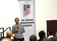 Oceanside, CA-Wednesday, June 19, 2019: US Soccer Coaches Ed Event at QLN conference center.  <br /> Tony Lepore speaks at the event.
