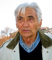 Howard Zinn, activist historian professor and author of the People's History of the United States, at rally against the war in Iraq at Boston Common Boston MA April 16, 2004