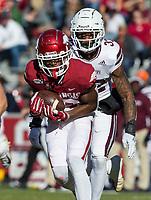 NWA Democrat-Gazette/BEN GOFF @NWABENGOFF<br /> Tyson Morris, Arkansas wide receiver, makes a catch in the second quarter vs Mississippi State Saturday, Nov. 2, 2019, at Reynolds Razorback Stadium in Fayetteville.