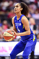 Washington, DC - August 12, 2018: Dallas Wings All-Star guard Skylar Diggins-Smith (4) at the free throw line during game between the Washington Mystics and the Dallas Wings at the Capital One Arena in Washington, DC. (Photo by Phil Peters/Media Images International)