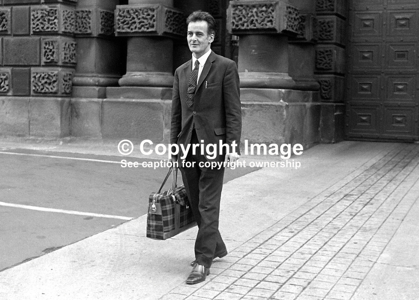 Frank Gogarty, prominent member, N Ireland Civil Rights Association, NICRA, leaving Crumlin Road Jail, Belfast, after serving 4 months of a 6 months sentence for a public order offence. 25th June 1971. 197106250251FG2.<br /> <br /> Copyright Image from Victor Patterson, 54 Dorchester Park, <br /> Belfast, UK, BT9 6RJ<br /> <br /> t1: +44 28 9066 1296 (from Rep of Ireland 048 9066 1296)<br /> t2: +44 28 9002 2446 (from Rep of Ireland 048 9002 2446)<br /> m: +44 7802 353836<br /> <br /> e1: victorpatterson@me.com<br /> e2: victorpatterson@gmail.com<br /> www.victorpatterson.com<br /> <br /> Please see my Terms and Conditions of Use at www.victorpatterson.com. It is IMPORTANT that you familiarise yourself with them.<br /> <br /> Images used on the Internet must be visibly watermarked i.e. &copy; Victor Patterson<br /> within the body of the image and copyright metadata must not be deleted. Images <br /> used on the Internet have a size restriction of 4kbs and will be chargeable at current<br />  NUJ rates unless agreed otherwise.<br /> <br /> This image is only available for the use of the download recipient i.e. television station, newspaper, magazine, book publisher, etc, and must not be passed on to any third <br /> party. It is also downloaded on condition that each and every usage is notified within 7 days to victorpatterson@me.com<br /> <br /> The right of Victor Patterson to be identified as the author is asserted in accordance with The Copyright Designs And Patents Act (1988).