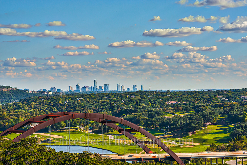 This is another view of the city of Austin skyline taken with the 360 Bridge on a day with some nice clouds. This is an area on the outskrits of the city but a very popular spot for viewing the skyline of the city.
