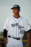 Lakeland Flying Tigers relief pitcher Alfred Gutierrez (28) during introductions before a game against the Tampa Tarpons on April 5, 2018 at Publix Field at Joker Marchant Stadium in Lakeland, Florida.  Tampa defeated Lakeland 4-2.  (Mike Janes/Four Seam Images)