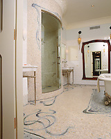 Custom Art Nouveau  shower and floor in Travertine White, Kay's Green, Ming Green, Blue Macauba, Celeste