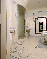 Custom Art Nouveau  shower and floor in Travertine White, Kay's Green, Ming Green, Blue Macauba, Celeste