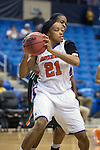 Texas Arlington Mavericks forward Briana Walker (21) in action during the game between the Texas Pan American Lady Broncs  and the Texas Arlington Mavericks at the College Park Center arena in Arlington, Texas. UTPA defeats UTA 59 to 57....