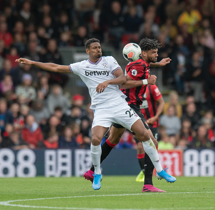West Ham United's Sebastien Haller (left) battles for possession with Bournemouth's Philip Billing (right) <br /> <br /> Photographer David Horton/CameraSport<br /> <br /> The Premier League - Bournemouth v West Ham United - Saturday 28th September 2019 - Vitality Stadium - Bournemouth<br /> <br /> World Copyright © 2019 CameraSport. All rights reserved. 43 Linden Ave. Countesthorpe. Leicester. England. LE8 5PG - Tel: +44 (0) 116 277 4147 - admin@camerasport.com - www.camerasport.com