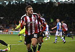 Billy Sharp of Sheffield Utd celebrates before the goal was disallowed during the English League One match at Bramall Lane Stadium, Sheffield. Picture date: November 29th, 2016. Pic Simon Bellis/Sportimage