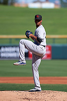 Scottsdale Scorpions starting pitcher Albert Abreu (58), of the New York Yankees organization, delivers a pitch to the plate during an Arizona Fall League game against the Mesa Solar Sox on October 24, 2017 at Sloan Park in Mesa, Arizona. The Scorpions defeated the Solar Sox 3-1. (Zachary Lucy/Four Seam Images)