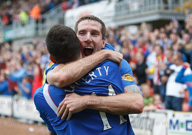Kirk Broadfoot celebrates with goalscorer Kyle Lafferty