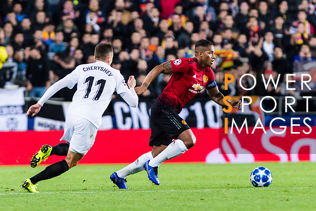 Antonio Valencia of Manchester United (R) dribbles Denis Cheryshev of Valencia CF (L) during the UEFA Champions League 2018-19 match between Valencia CF and Manchester United at Estadio de Mestalla on December 12 2018 in Valencia, Spain. Photo by Maria Jose Segovia Carmona / Power Sport Images