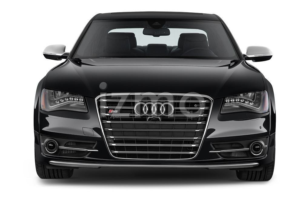 Car photography straight front view of a 2014 Audi S8 Base 4 Door Sedan