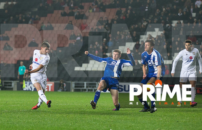 Ryan Colclough of Milton Keynes Dons scores his goal during the Sky Bet League 1 match between MK Dons and Chesterfield at stadium:mk, Milton Keynes, England on 22 November 2016. Photo by Andy Rowland.