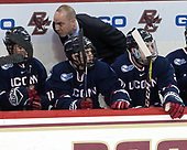 Max Kalter (UConn - 18), Corey Ronan (UConn - 11), Mike Cavanaugh (UConn - Head Coach), Tage Thompson (UConn - 29) - The Boston College Eagles defeated the visiting UConn Huskies 2-1 on Tuesday, January 24, 2017, at Kelley Rink in Conte Forum in Chestnut Hill, Massachusetts.