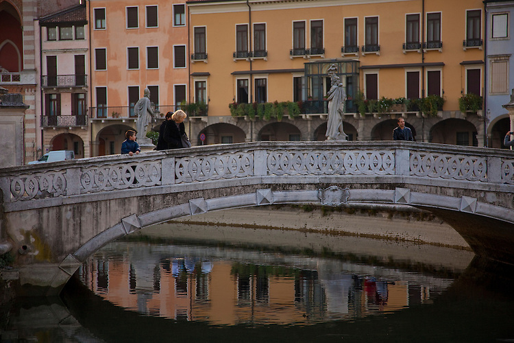 Piazza bridge & sunset reflections at Padua,Italy