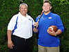 Vin Mascia, the head varsity football coach and assistant varsity baseball coach at East Meadow High School, and son Matt, who plays both sports and will graduate from the school on June 26, pose for a portrait at their home on Friday, June 17, 2016.