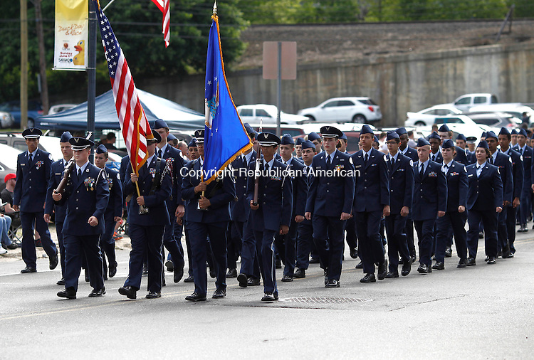 Naugatuck, CT- 26 May 2014-052614CM04-  Naugatuck High School's JROTC cadets march Maple Street during the annual Naugatuck Memorial Day Parade on Monday.    Christopher Massa Republican-American