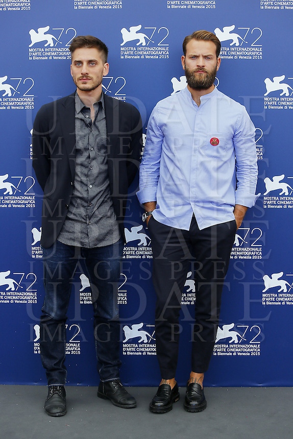 Luca Marinelli and Alessandro Borghi attend a photocall for the movie 'Don't Be Bad' during the 72nd Venice Film Festival at the Palazzo Del Cinema in Venice, Italy, September 7, 2015.<br /> UPDATE IMAGES PRESS/Stephen Richie