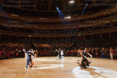 Arunas Bizokas and Katusha Demidova of USA perform their dance during the International Championships held at the Royal Albert Hall in London, United Kingdom on October 13, 2011. ATTILA VOLGYI