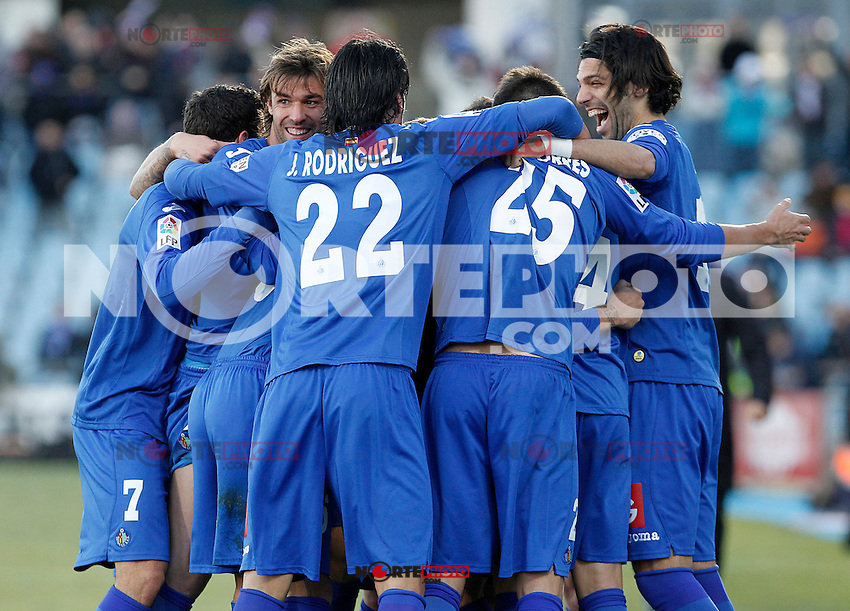 Getafe's players celebrate goal during La Liga match.December 01,2012. (ALTERPHOTOS/Acero) ©/NortePhoto