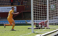 Alan Manus pulls the ball back over the line after Henrik Ojamaa scores in the Motherwell v St Johnstone Clydesdale Bank Scottish Premier League match played at Fir Park, Motherwell on 28.4.12.