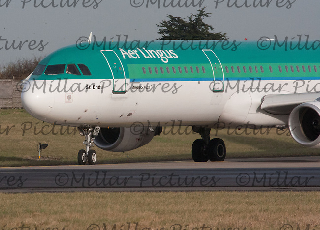 An Aer Lingus Airbus A321-211 Registration EI-CPE named St Edna taking off at Dublin Airport on 8.2.11.