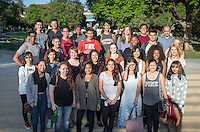 Faculty members Richard Mora and Salvador Fernandez stand with a group of students participating in California Immigration Semester, Sept. 2, 2015.<br /> (Photo by Marc Campos, Occidental College Photographer)