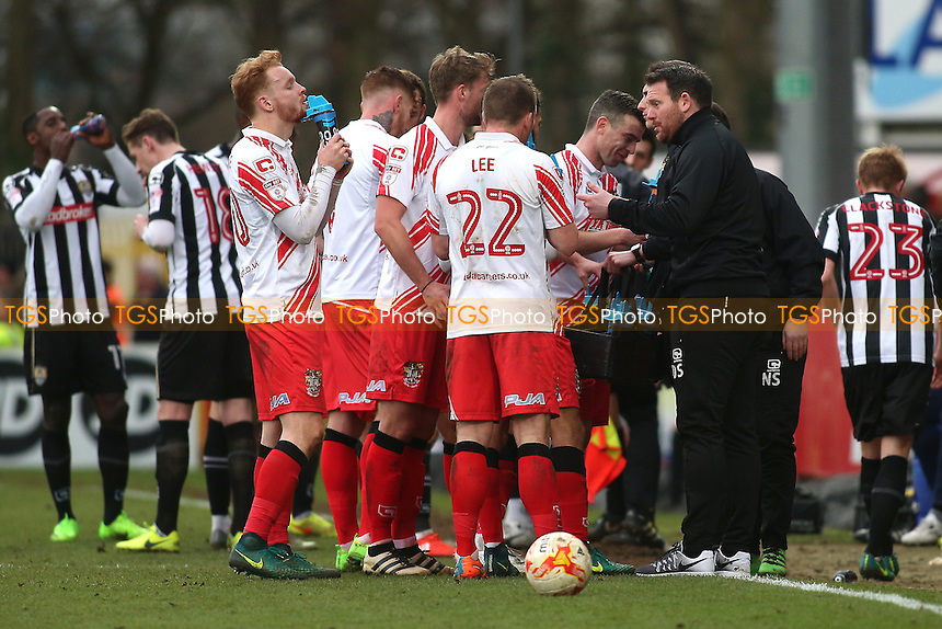 Stevenage manager Darren Sarll speaks to his players during Stevenage vs Notts County, Sky Bet EFL League 2 Football at the Lamex Stadium on 4th March 2017