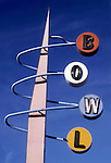 Classic 1960s era bowling alley sign in Los Angeles, California