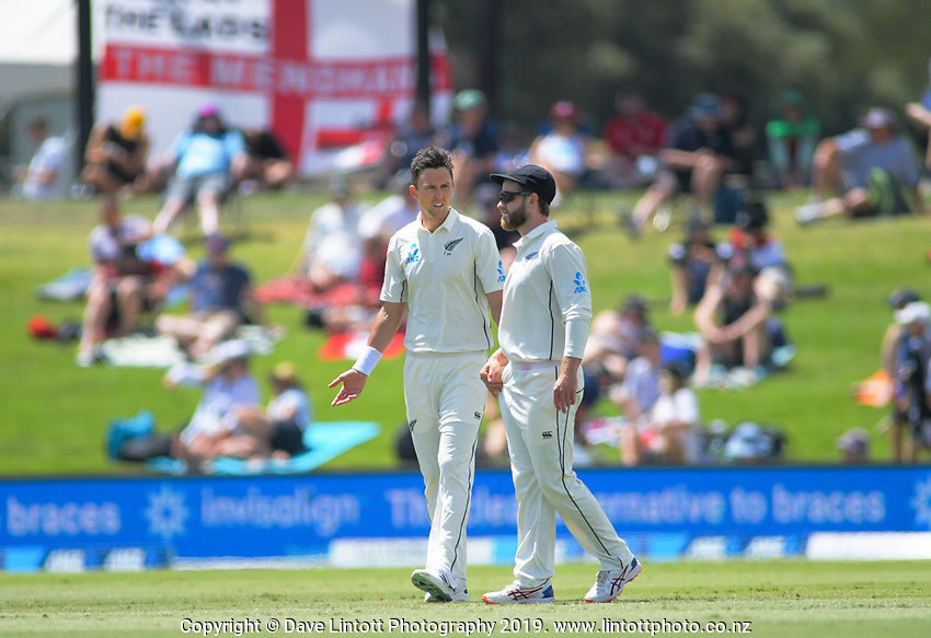 NZ's Trent Boult and Kane Williamson during day two of the international cricket 1st test match between NZ Black Caps and England at Bay Oval in Mount Maunganui, New Zealand on Friday, 22 November 2019. Photo: Dave Lintott / lintottphoto.co.nz