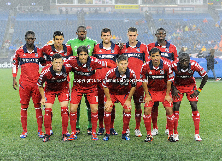 June 2 2012 Chicago Fire pose for a pre-game photo on the field at Gillette Stadium, in  Foxborough, Massachusetts. Eric Canha/CSM