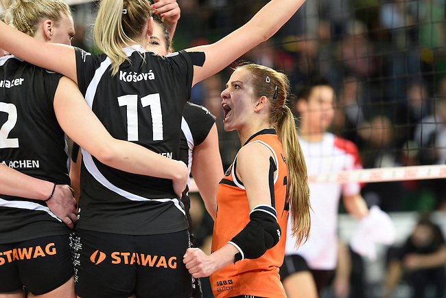 Halle/Westfalen, Germany, March 01: during the Volleyball DVV-Pokalfinale (Damen) between Ladies in Black Aachen and Allianz MTV Stuttgart on March 1, 2015 at the Gerry Weber Stadion in Halle/Westfalen, Germany. Final score 2-3 (25-17, 25-20, 19-25, 19-25, 13-15). (Photo by Dirk Markgraf / www.265-images.com) *** Local caption *** Dominika Valachova #14 of Ladies in Black Aachen